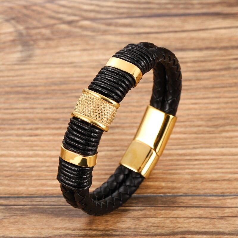 MingAo-Bracelets magnétiques en acier inoxydable pour hommes, bijou Charkra noir, de Tennis en cuir, accessoires, bijoux, amis 2