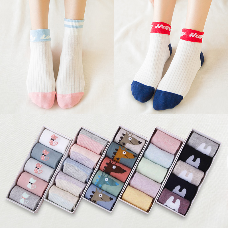 5 Pairs/Lot New Woman Cotton Socks Fashion Cartoon Socks Ladies Two Kinds Of Wearing Ways Socks Always Happy/Giraffe/Pure Color