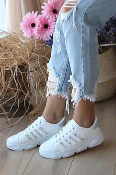 Różowe Potin damskie białe kulawe buty A1975-20 tanie i dobre opinie Pembe Potin Oksfordzie TR (pochodzenie) Sztuczna skóra Gumką Pasuje prawda na wymiar weź swój normalny rozmiar Na co dzień