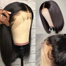 Parrucche frontali corte in pizzo Bob con capelli per bambini Remy 13x4 parrucche frontali in pizzo parrucche Pre pizzicate dritte per donne nere 150%