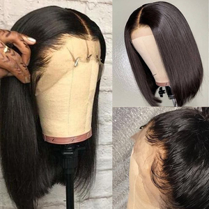 Image 1 - Short Bob Lace Frontal Wigs With Baby Hair Remy 13x4 Lace Front Human Hair Wigs Pre Plucked Straight For Black Women 150%