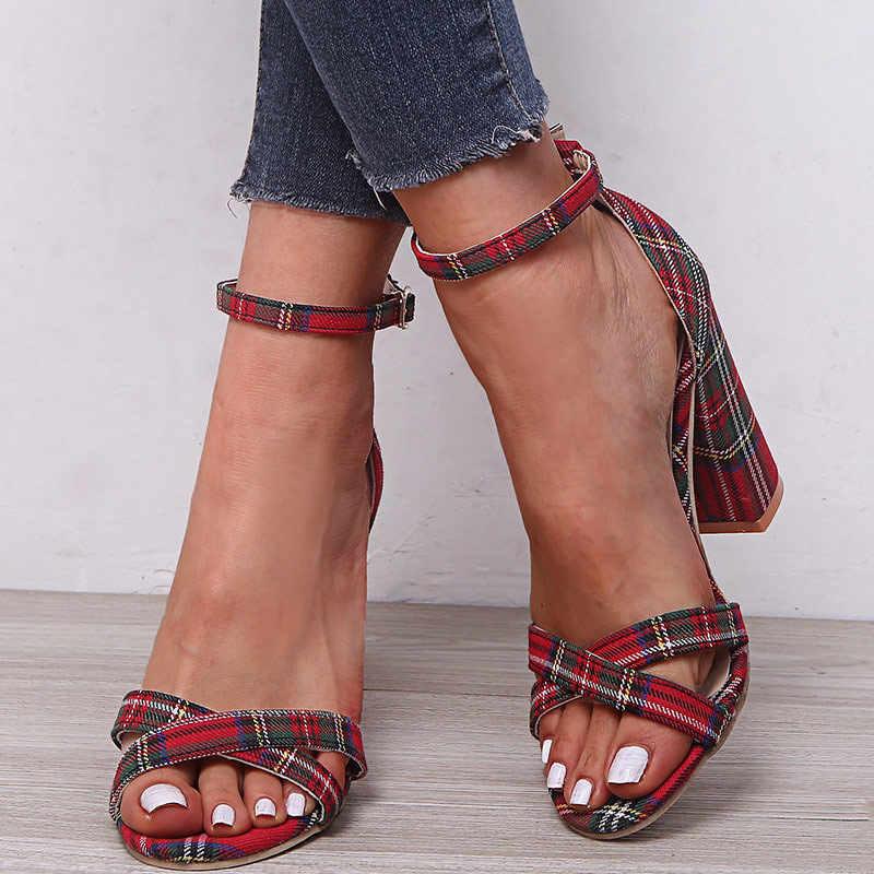 여성 버클 발목 스트랩 샌들 여름 숙 녀 광장 높은 뒤꿈치 깅엄 펌프 여자 오픈 발가락 신발 우아한 여성 패션