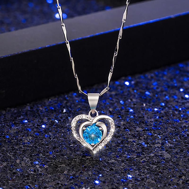 Classic Temperament Love Zircon Necklace for Women Charm Gorgeous Zirconia Kolye Bijoux for Lover Birthday Gift Accessories