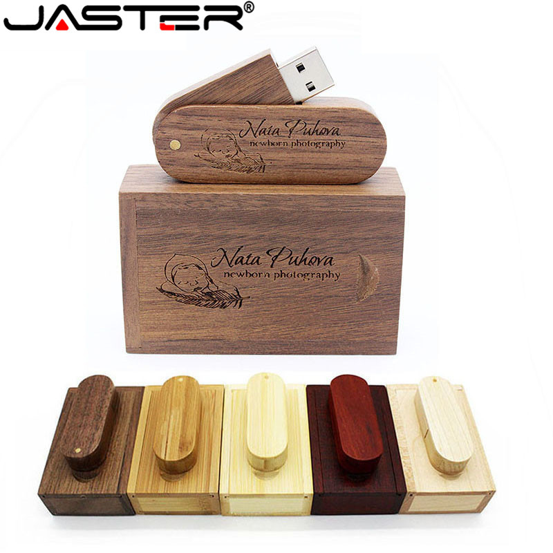 JASTER (1 PCS Free LOGO) Wooden USB+ Box USB Flash Drive Pendrive 64GB 16G 32GB Memory Stick For Photography Wedding Gift
