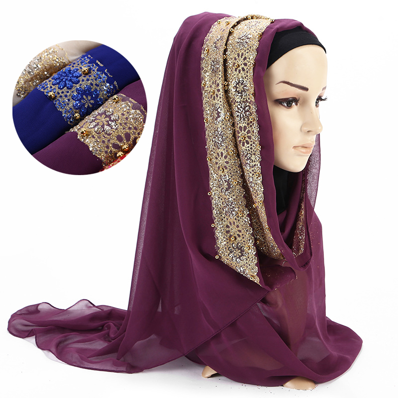 Muslim Women Hijab Scarf Solid Chiffon Pearl Headscarf With Diamond Elegant Lady Islamic Foulard Shawls And Wraps Head Scarves