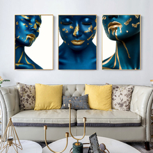 Scandinavian Blue Golden Liquid Woman Oil Painting on Canvas Wall Art Posters and Prints Wall Picture for Living Room Home Decor claude monet anemone oil painting on canvas posters and prints wall picture for living room home decoration