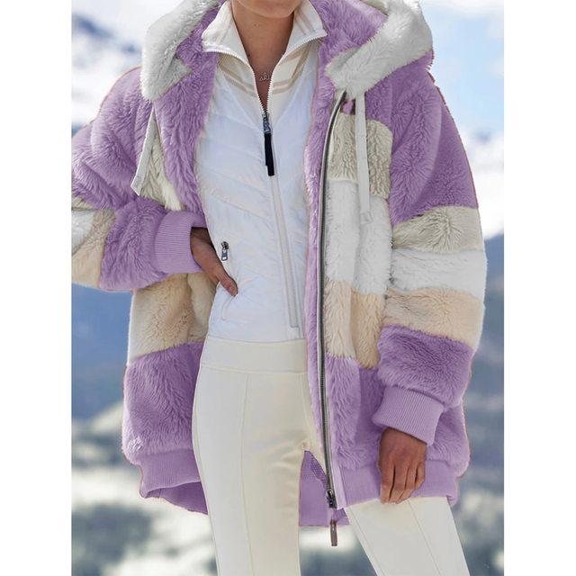 2021 Oversized Winter Women Jacket Fashion Plush Patchwork Zipper Pocket Hooded Jacket Retro Loose Long Sleeve Women's Coat 2