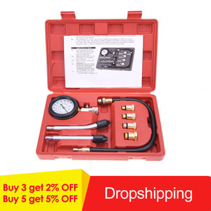 Compression Tester Pressure Gauge Tester Kit Motor Auto Petrol Gas Engine Cylinder Car Motorcycle Pressure Gauge with Adapter