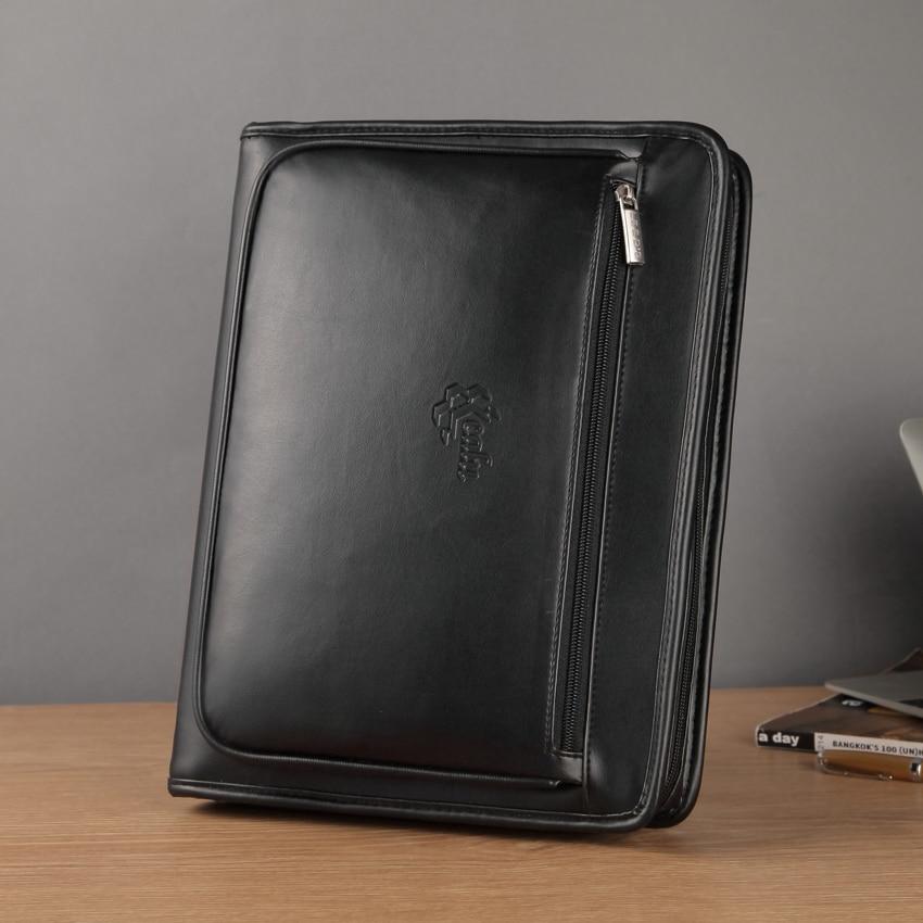 A4 cuir en expansion fichier dossier document organisateur affaires dossier padfolio slip case portefeuille avec ipad sac à fermeture éclair 1179