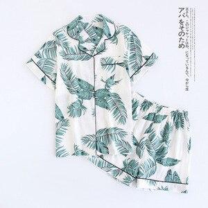 Image 2 - Calções de verão pijamas femininos conjuntos 100% gaze algodão japonês bonito dos desenhos animados simples manga curta shorts sleepwear
