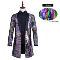 Men'S Nightclub Bar Stage Costumes Colorful Sequins DJ Party Blazer Jacket Male Singer Performance Blazer Men Suit Coat SL1690
