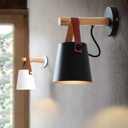 Nowe oświetlenie naścienne led ściana z drewna lampy nowoczesny skandynawski styl kinkiety łóżko lampka nocna E27 85-265V abażur Home Decor