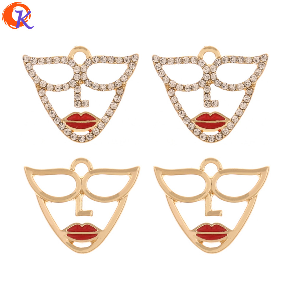 Cordial Design 17*20MM Jewelry Accessories/Earring Connectors/Face Shape/Earring Findings/Rhinestone Charms/Hand Made/DIY Making