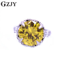 цены GZJY Fashion Round Colorful Big Zircon Stone White Gold Color Female Wedding Ring For Women Gorgeous Anniversary Party Jewelry
