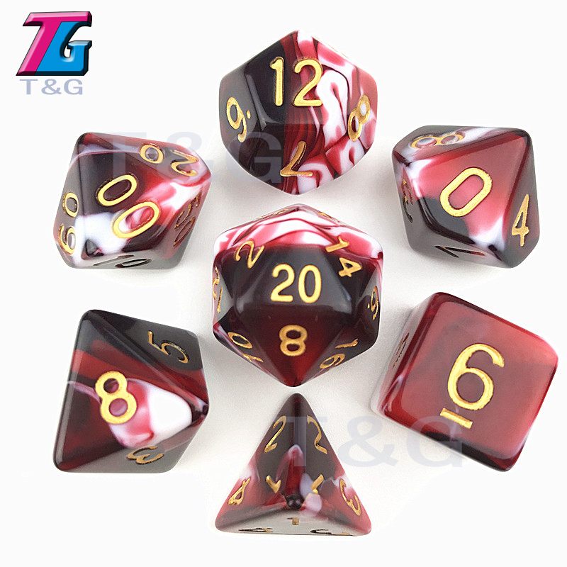 Transparent Red & White Color Dice D4-D20 For RPG Parties Toys