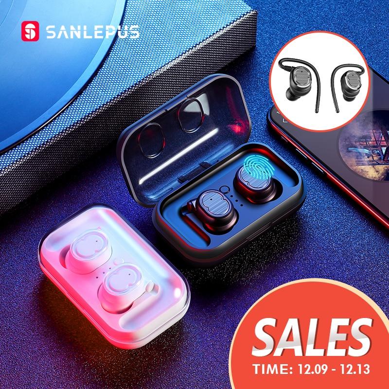 SANLEPUS TWS 5.0 אלחוטי אוזניות Bluetooth אוזניות ספורט אוזניות סטריאו אוזניות דיבורית Auriculares עבור טלפונים Xiaomi