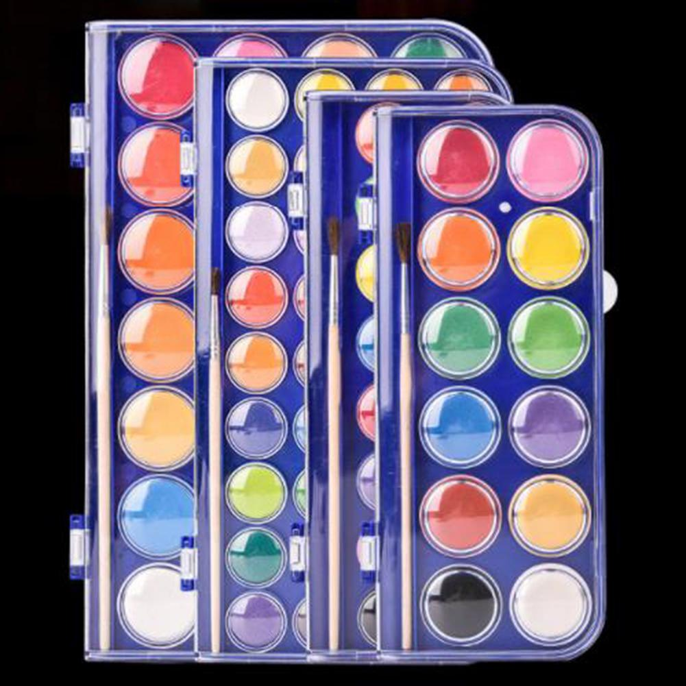 12/18/24/36 Colors High Quality Solid Watercolor Paint Set Portable Water Brush Gouache Pigments School Art Stationery