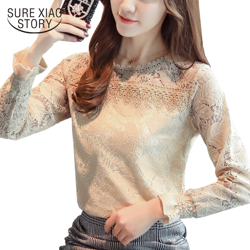 2019 New Fashion Long Sleeves Solid Lace Women Blouses Shirt  Tops Puff Sleeve O-NECK Casual Lace Women Clothing Blusas C900 30