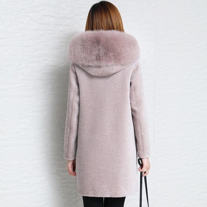 Real Sheep Shearing Coat Female Natural Wool Jackets Women Clothes Parka Real Fox Fur Hooded Warm Spring Overcoat LWL1390