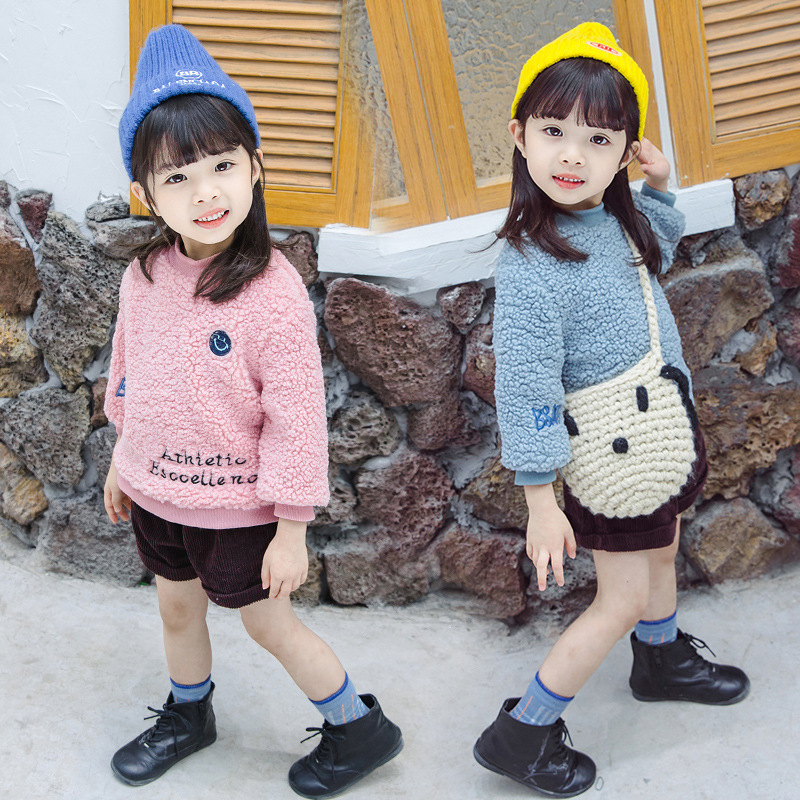 Kids' Sweater 2019 Autumn And Winter New Style Girls Smiley Wool Sweater Coat Small CHILDREN'S Tops