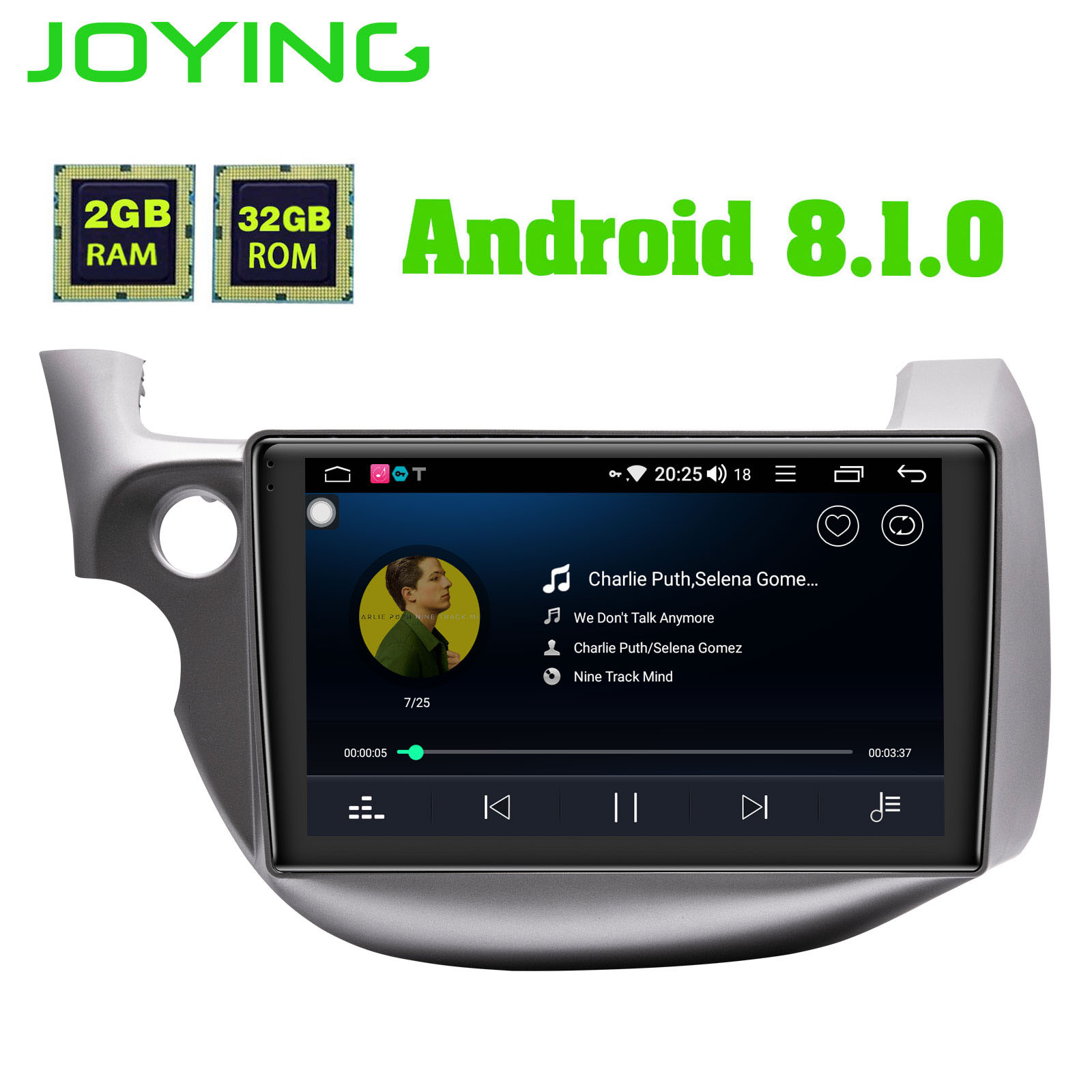 JOYING Android 8.1 Car Multimedia Player Tape Recorder GPS Navigator 8 core 32GB ROM 2GB RAM Radio for Honda Fit/Jazz 2008-2013