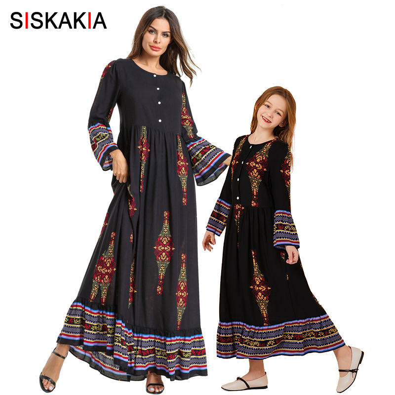 Mother Daughter Dresses Long Sleeve Ethnic Printing Long Dress Casual Muslim Family Matching Clothes Mom And Daughter Outfits