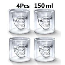 150ML Creative Skull Shot Glass Crystal Head Cup Whiskey Home Bar 3D Skull Head Bottle Mug Cups Set Vodka Home Drinking Ware crystal skull whiskey glass cup drinking ware bar