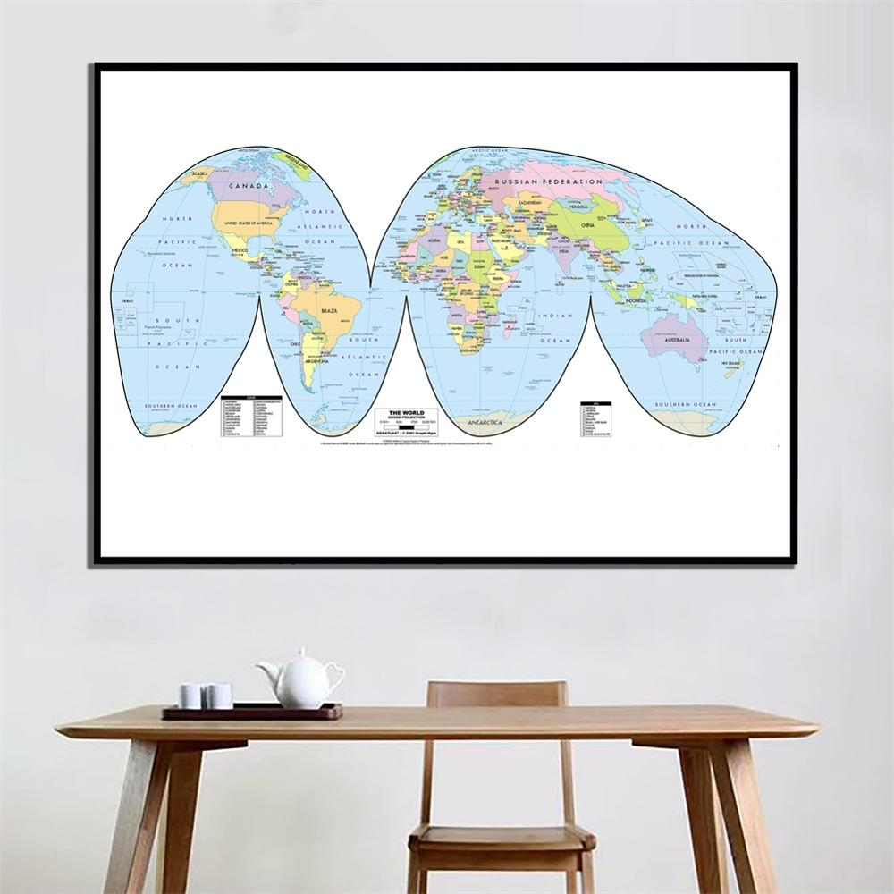 24x48 Inches Goode Projection The World Map HD Office Study Room Wall Decor Canvas Spray Painting