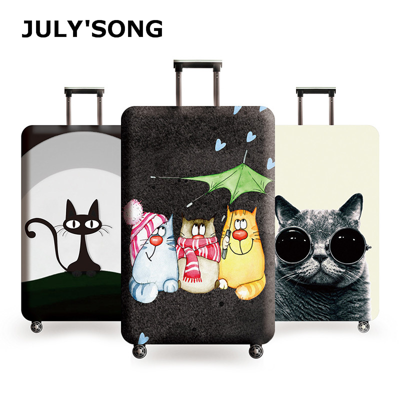 JULY'S SONG New Suitcase Elastic Dust Cover Luggage Case For 18~32 Inch Password Box Trolley Case Cat Pattern Protective Cover