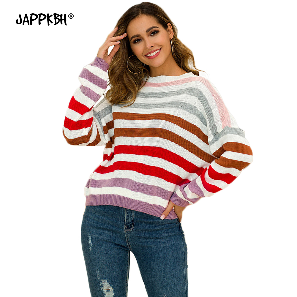 Autumn Winter Sweater Women 2019 Casual Warm Thick Rainbow Striped Sweater Loose Oversized Long Sleeve Pullover Knitted Sweaters