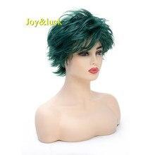 Короткий мужской парик Joy & luck, темно-зеленый синтетический парик, мужской парик для косплея, натуральный прямой костюм
