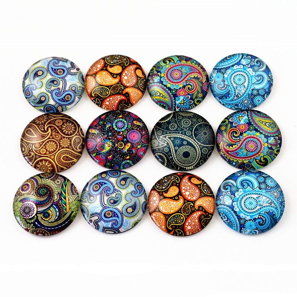 10pcs 20mm And 25mm New Fashion Texture Mixed Handmade Photo Glass Cabochons Pattern Domed Jewelry Accessories Supplies