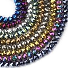 JHNBY Flat Round Forma di cristalli Austriaci perline 6 millimetri 50pcs di Alta qualità branelli allentati Placcatura sfera del braccialetto della collana Dei Monili FAI DA TE