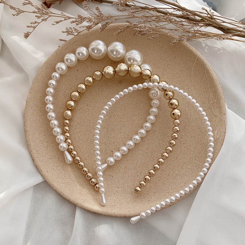 3PCS/Set New Women Elegant Full Pearls Headband For Women Big Size Popular Hairbands Lady Hair Accessories  Headdress