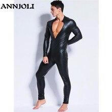ANNJOLI Plus Size Hot Men Sex Wetlook Faux Leather Latex Catsuit Bodysuit Erotic Slim Tight gay fetish Wear Open Crotch Clubwear