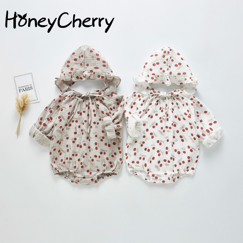2020 Spring Baby Girl Bodysuits New Baby's Happy Clothes Baby Girl's Cherry Hat One Piece Creeper Little Girls Clothing