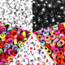 New 100pcs/Lot 7mm Oval Shape Stars Moon Beads Acrylic Spaced Beads For Jewelry Making DIY Bracelet Necklac Accessories