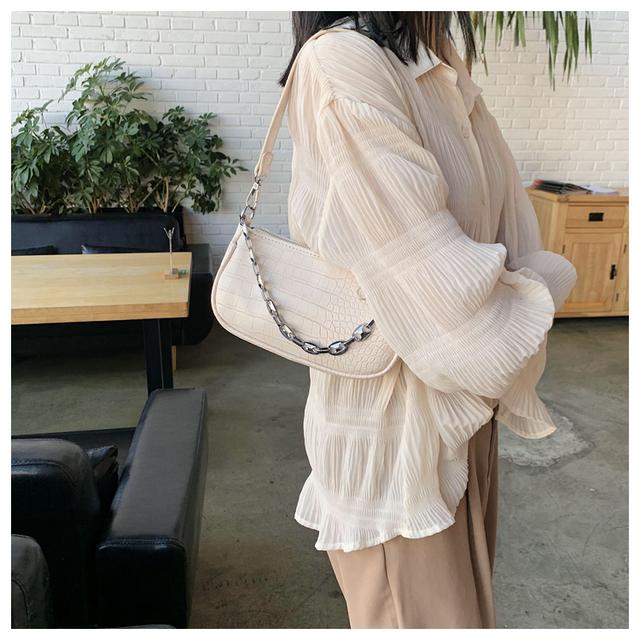 Fashion Crocodile Pattern Baguette bags