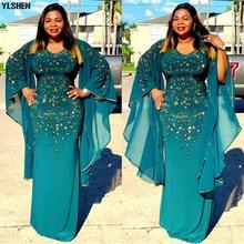 Африканские платья для женщин Дашики алмаз африканская одежда Базен Broder Riche сексуальный тонкий рукав рюшами халат вечернее длинное платье