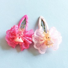 1 Pcs/lot Children Lace Bow Cute Hairpin Kawaii Rabbit Hair Accessories Bowknot Girls Clip New Arrive