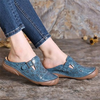 2020 Woman Sandals Platform Wedge Shoes Summer Retro Buckle Hollow Embroidery Ladies Shoes Casual Ladies Sewing Shoes Slippers image