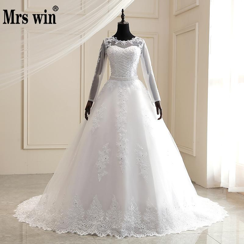 Mrs Win Wedding Dress 2020 With Detachable Train Long Sleeve Illusion Lace Embroidery Princess Luxury Wedding Gowns