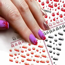 1pc Fire Nail sticker Stencil Hollow Stickers Fires On Manicure Stencil Stickers Beautiful Nail Art Decoration 2 sheets fire nail vinyls stencil hollow stickers fires on manicure stencil stickers nail art decoration