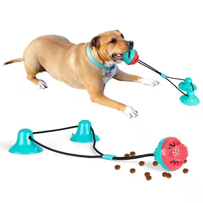 Pet Dog Toys Silicon Suction Cup Tug Pet Toy Dogs Push Ball Toy Pet Tooth Cleaning Dog Pull Game Toothbrush for Large dog