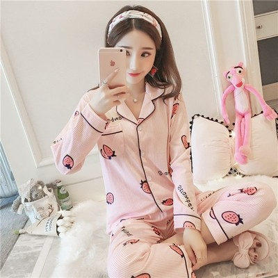 New Style Double-Sided Cardigan Long Sleeve Pajamas Suit 638 # Stripes Strawberry Blue Pink M L X L Xx L