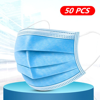 Disposable Mouth Face Mask 3 Ply Earloop Filter Masks Anti Dust Droplet Pollution Protection Masks Non Woven PM 2.5 Respirator