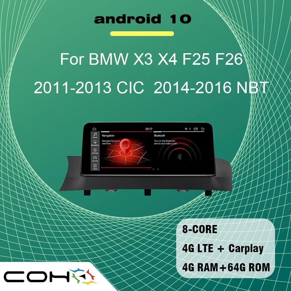10,25 ''Android 10 8-core 4G + 64G GPS навигационный мультимедийный плеер автомобиль радио для BMW X3 X4 F25 F26 2011-2016