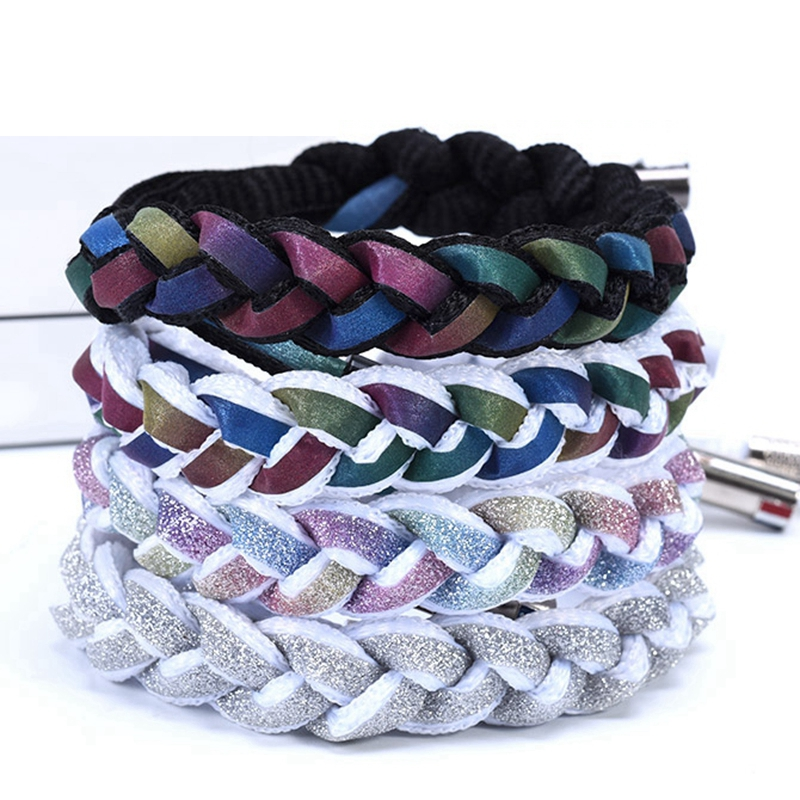 Reflective Shoelaces Can Be Hand-woven Into Bracelets At Night Sports Colorful Round Shoelace Sneakers Beautiful Shoe Strings