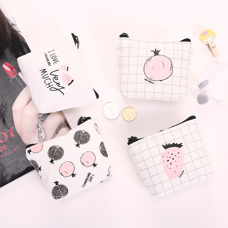 0599 Korean-style Creative Simple Whisper Canvas Coin Purse Color Cartoon Pattern Large-Volume Wallet Key