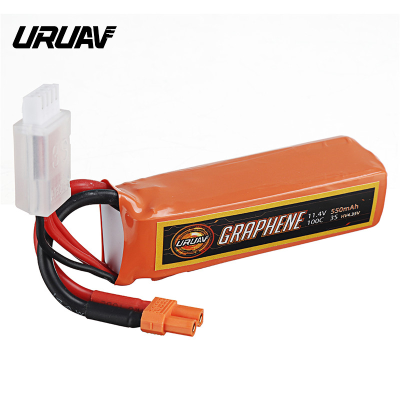 URUAV GRAPHENE <font><b>3S</b></font> 11.4V <font><b>550mAh</b></font> 100C <font><b>3S</b></font> HV XT30 Plug Lipo Battery for RC FPV Racing Drone RC Quadcopter RC Parts DIY Accessories image